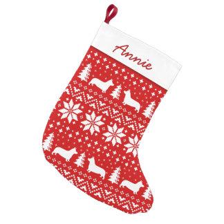 Petite Chaussette De Noël Motif de silhouettes de corgi de Gallois de