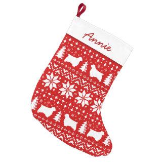 Petite Chaussette De Noël Motif de silhouettes d'épagneul de Clumber