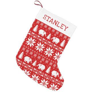 Petite Chaussette De Noël Motif mignon de Noël d'éléphants avec le texte