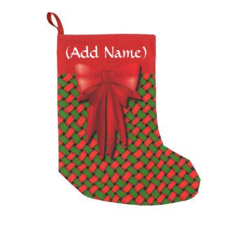 Petite Chaussette De Noël Motif rouge et vert de Basketweave avec l'arc