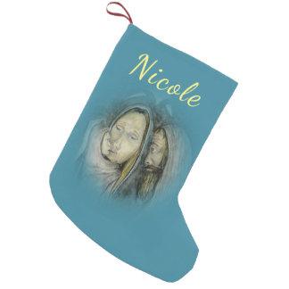 Petite Chaussette De Noël Noël bleu religieux de famille sainte votre nom