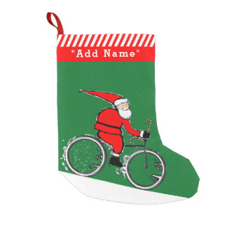 Petite Chaussette De Noël Noël faisant du vélo