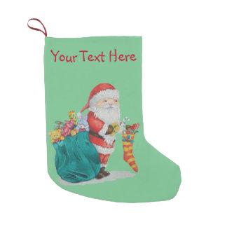 Petite Chaussette De Noël Noël mignon de père avec des jouets et des cadeaux