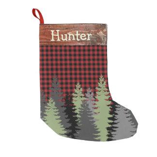 Petite Chaussette De Noël Nom noir rouge de plaid de cabine de forêt