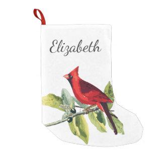 Petite Chaussette De Noël Oiseau cardinal rouge élégant et nom en manuscrit