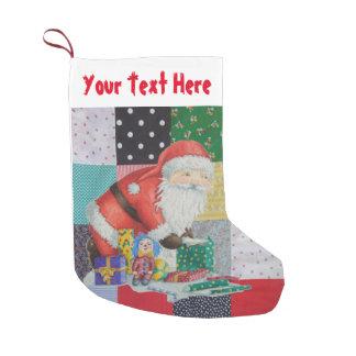 Petite Chaussette De Noël patchwork vintage coloré de tissu avec père Noël