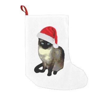 Petite Chaussette De Noël Pattes de Kitty, bas de Noël de chat siamois