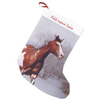 Petite Chaussette De Noël Peignez le bas de Noël de neige de cheval