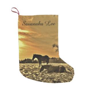 Petite Chaussette De Noël Personnalisé avec les chevaux nommés de coucher du