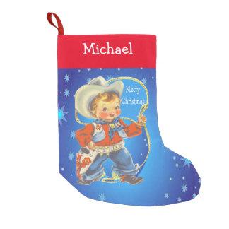 Petite Chaussette De Noël Petit cowboy avec le Joyeux Noël de corde