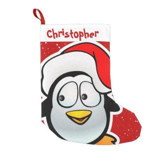Petite Chaussette De Noël Pingouin drôle avec le casquette rouge de Père