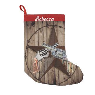 Petite Chaussette De Noël pistolets rustiques de pays occidental de cowboy