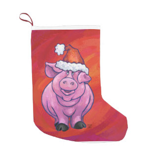 Petite Chaussette De Noël Porc mignon dans le casquette de Père Noël sur le