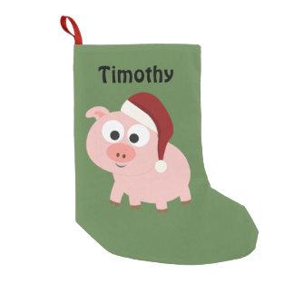 Petite Chaussette De Noël Porc mignon de Père Noël