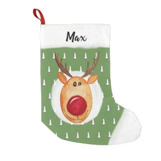 Petite Chaussette De Noël Premier arbre de Rudolph de Noël du bébé avec le