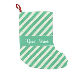 Petite Chaussette De Noël Rayures diagonales vertes et blanches en bon état