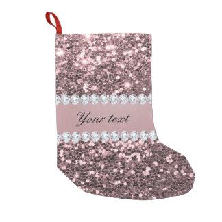 Petite Chaussette De Noël Scintillement rose à la mode et diamants de Faux