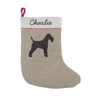 Petite Chaussette De Noël Silhouette de Fox Terrier de fil avec le texte
