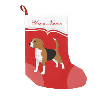 Petite Chaussette De Noël Solide rouge de chien de beagle personnalisé