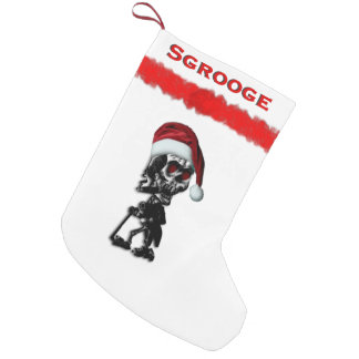 Petite Chaussette De Noël Squelette de grippe-sou de Noël dans le casquette