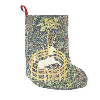 Petite Chaussette De Noël Tapisserie médiévale de licorne - bas