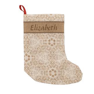 Petite Chaussette De Noël Toile de jute rustique et flocon de neige de