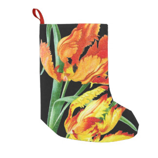 Petite Chaussette De Noël Tulipes de perroquet sur le dessin noir
