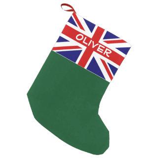 Petite Chaussette De Noël Vacances personnalisées par drapeau britannique