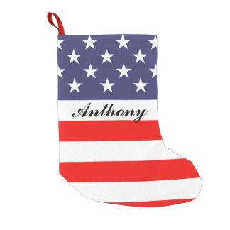 Petite Chaussette De Noël Vacances personnalisées par drapeau patriotique