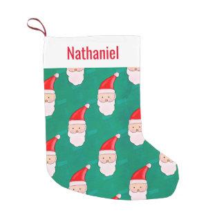 Petite Chaussette De Noël Vert mignon de motif de Noël de Père Noël