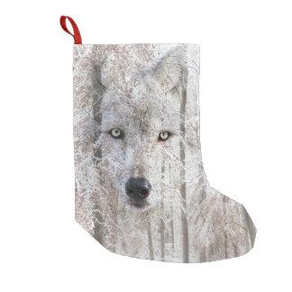 Petite Chaussette De Noël Visage de loup en bois de neige