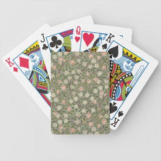 Petite conception de papier peint de fleur rose et jeu de poker