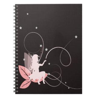 Petite fée rose et arabesques carnet à spirale