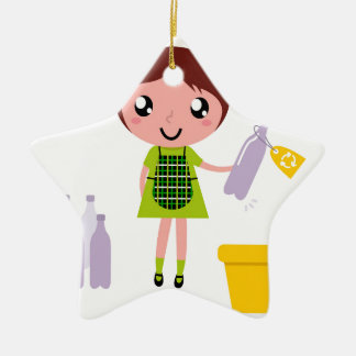 Petite fille artistique avec la bouteille ornement étoile en céramique