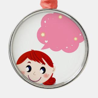 Petite fille avec le T-shirt de bulle Ornement Rond Argenté