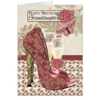 Petite-fille Champagne et papillon de chaussures Cartes