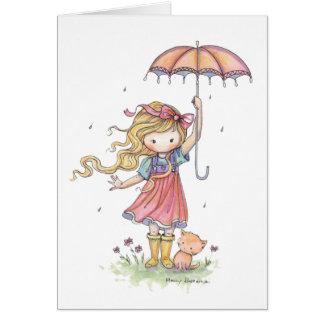 Petite fille et chat mignons sous la pluie cartes