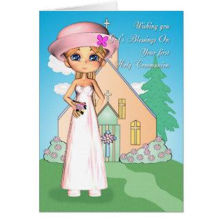 petite fille et église de première sainte carte de vœux