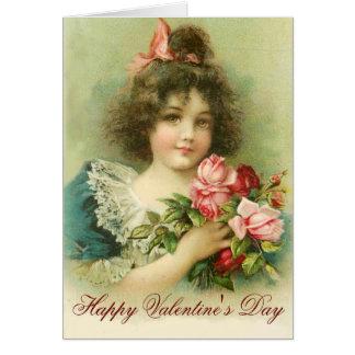Petite fille jour avec de Valentine rose de roses Carte De Vœux