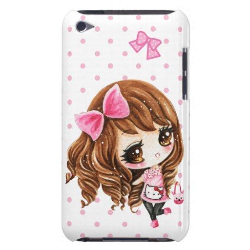 Petite fille mignonne avec le grand arc rose coque iPod Case-Mate