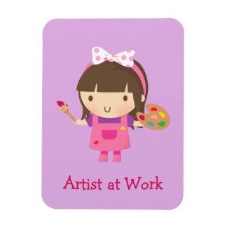 Petite fille mignonne de peintre d'artiste au magnets en vinyle