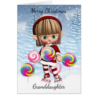 Petite-fille petit Elf avec les bruits et la neige Cartes