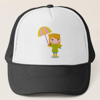 Petite fille pluvieuse mignonne. Illustration Casquette