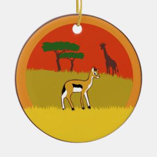Petite gazelle ornement rond en céramique