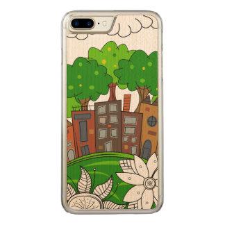 Petite illustration de ville coque en bois iPhone 7 plus