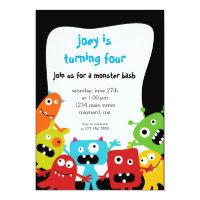 Petite invitation d'anniversaire de monstres