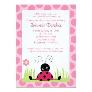 Petite invitation de baby shower de point de rose carton d'invitation  11,43 cm x 15,87 cm