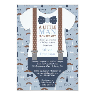 Petite invitation de baby shower d'homme, bleu,