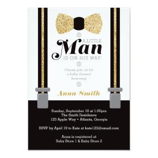 Petite invitation de baby shower d'homme, or, noir