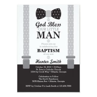 Petite invitation de baptême d'homme, noir, gris